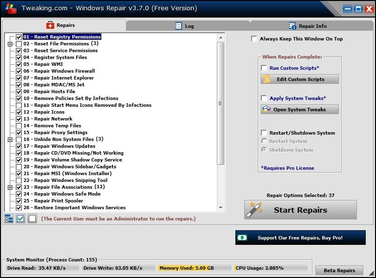 Tweaking.Com Windows Repair Screen shot