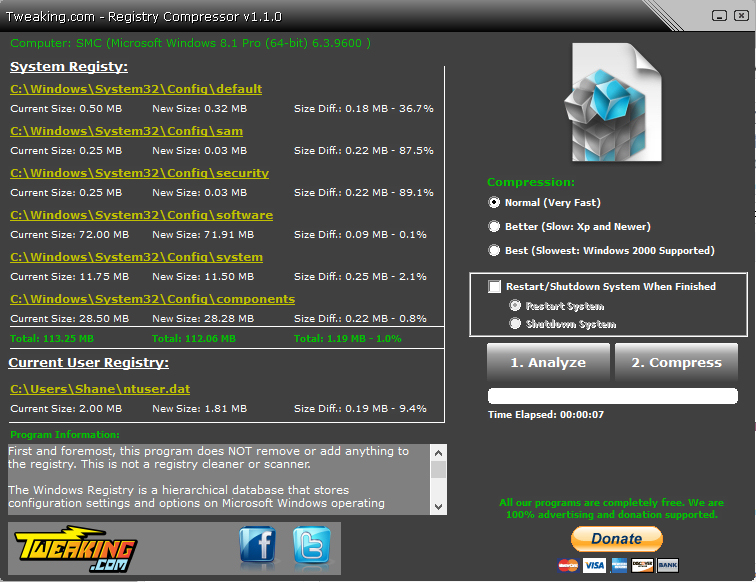 Screenshot of Registry Compressor