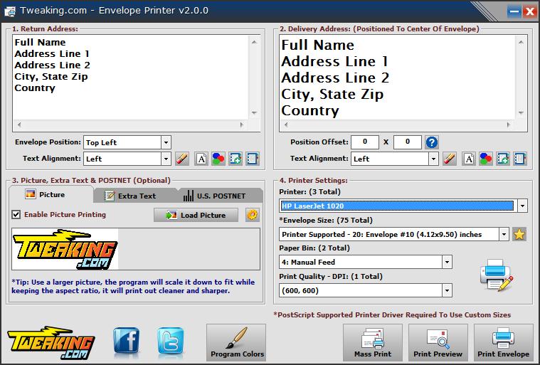Screenshot of Envelope Printer